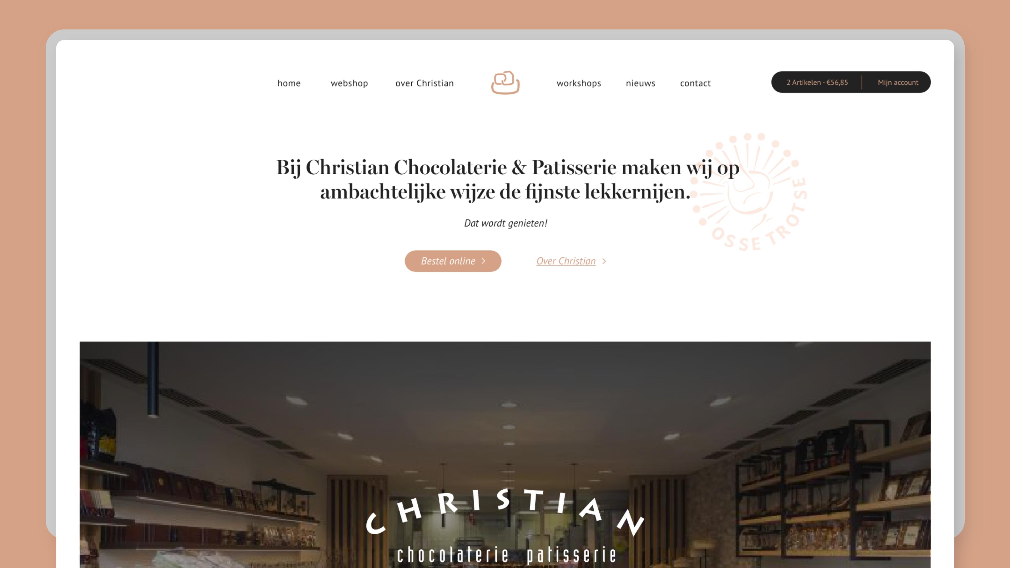 beeld van de nieuwe website van Christan Chocolaterie Patisserie